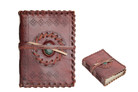 "4"" X 5.5"" Medieval Leather Diaries Book with Stone & etching"