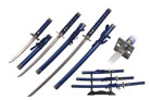 3 Pcs Samurai Sword Set Blue Scabbard with Square Guard and Stand