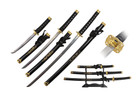 3 Pcs Dragon Samurai Sword Set Black Scabbard with Golden Tsuba and Stand
