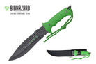"13"" Zombie Killer Hunting Tactical Knife with Neon Green Handle and Sheath - H4732"
