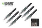 "9"" Biohazard 6 Pcs Black Blade Zombie Throwing Knife with Sheath - A80776A"