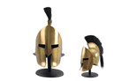Leonidas 300 Greek Spartan Crested Helmet with Brass Finish and Plume, Gold