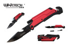 """8"""" Wartech Tactical Spring Assisted Opening Folding Knife with LED Light and Fire Starter - YCS9045RD"""