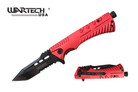 "8"" Wartech Tactical Spring Assisted Tanto Point Folding Knife with Fire Starter - YCS9046RD"