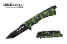 "8"" Wartech Tactical Spring Assisted Tanto Point Skull Folding Knife with Fire Starter - YCS9046SGN"