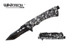 "8"" Wartech Tactical Spring Assisted Tanto Point Skull Folding Knife with Fire Starter - YCS9046SGY"