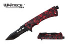 """8"""" Wartech Tactical Spring Assisted Tanto Point Skull Folding Knife with Fire Starter - YCS9046SRD"""