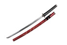 Red Katana Sword with Dragon Engraved Scabbard