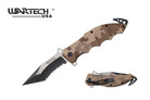 "8"" Assisted Rescue Pocket Knife Desert Camo Handle, Tanto Serrated Blade - YCS7015CMO"