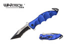"8"" Assisted Rescue Pocket Knife Blue Handle, Tanto Serrated Blade - YCS7015BL"