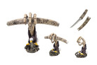 """13.5"""" Poly Resin Fantasy Dagger with Skull Hand Eagle Fight Snake Stand"""