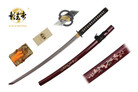 "41"" Kagemusha Hand Forged Damascus Blade Samurai Sword with Burgundy Scabbard"