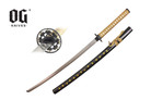 "41"" Samurai Katana Sword Black Scabbard With Gold Marijuana Leaf"