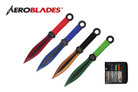 """9"""" 4 Pcs Set Assorted Color Throwing Knife with 2 Tone Blade Thrower"""