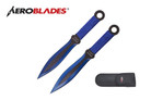 "9"" 2 Pcs Set Throwing Knife with 2 Tone Blade Thrower - Blue"