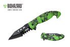 """8.5"""" Assisted Rescue Pocket Knife Green Skull Handle, Tanto Serrated Blade"""