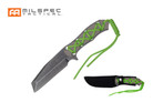 "9"" Stonewash Blade Knife with Neon Green Cord Wrapped Handle"