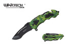 "8.5"" Green Marijuana Handle Assisted Opening Pocket Knife with Belt Clip"