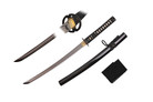 "32"" Full Tang Wakazashi with Musashi Tsuba and Black Scabbard"