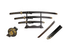 3 Pcs Carbon Steel Sword Set with Bamboo Tsuba