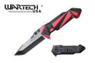 "8"" Red Tactical Knife with Belt Clip"