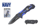 "8"" Official Licensed U.S. Navy Knife Assisted Opening with Belt Clip Blue - UN01"