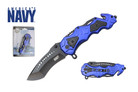 "8"" Official Licensed U.S. Navy Knife Assisted Opening with Belt Clip Blue - UN04"