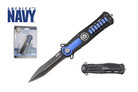 "8"" Official Licensed U.S. Navy Knife Assisted Opening with Belt Clip Blue - UN06"