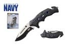 "8"" Official Licensed U.S. Navy Knife Assisted Opening with Belt Clip Blue - UN07"