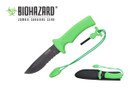 "10"" Black Blade and Green Handle w/ Hidden Fire Starter"