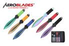 "6.5"" 6pc Set Throwing Knife Set Multi Color Thrower w/ Sheath"