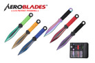 """6.75"""" 6pc Set Throwing Knife Set Multi Color Thrower with Sheath"""