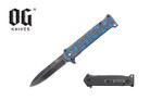 "8"" Assisted Open Blue Marijuana Knife"