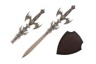 "25"" Fantasy Skull Sword w/ Wooden Plaque"