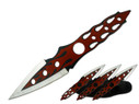 """9"""" Red Flame Throwing Knives"""