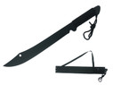 "20"" Black Coconut Machete with Sheath & Cord Wrapped Handle"