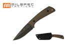 "8.5"" Tactical Knife w/ Tan G10 Handle, Stonewashed Blade w/ Hard Sheath"