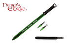 "28"" Full Tang Ninja Machete Sword w/ 2 Throwing Knives & Nylon Sheath - Green"