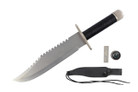 Silver Fixed Blade Hunting Survival Knife Bowie With Leather Sheath