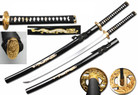 "40"" Full Tang Handmade 1045 Carbon Steel Samurai Sword w/ Gold Tsuba & Black Dragon Scabbard"