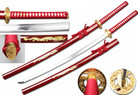 "40"" Full Tang Handmade 1045 Carbon Steel Samurai Sword w/ Gold Tsuba & Red Dragon Scabbard"