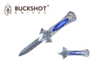 "7 3/4"" Buckshot Damascus Folding Knife - NPBK101BL"