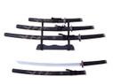 "3 PCS SET 40"" Black Dragon Katana Samurai Sword w/ Stainless Steel Blade"