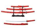 "3 PCS SET 40"" Red Katana Samurai Sword w/ Stainless Steel Blade"