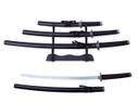 "3 PCS SET 40"" Black Katana Samurai Sword w/ Stainless Steel Blade"
