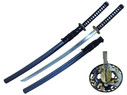 "Ryujin 40"" 5160 Spring Steel Blade w/ Gold & Silver Plated Accents Through-Hardened Shinogi Zukuri No-Hi Blade with Straight Edge Hamon Real Ray Skin Handle Wrapped in Black"