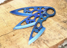 Wartech 3 Pcs Set Throwing Fixed Blade Knife W/ Punisher Skull - Blue