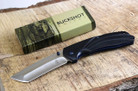 Buckshot Knives PBK220BK Thumb Open Spring Assisted Tanto Cleaver Classic Wood Handle Pocket Knives