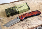 Buckshot Knives PBK220WD Thumb Open Spring Assisted Tanto Cleaver Classic Wood Handle Pocket Knives