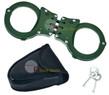 Green Steel Triple Hinged Double Lock Handcuffs W/ Key